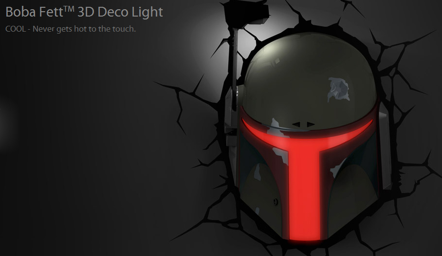 3D FX Deco LED Light Star Wars Boba Fett Wall Decoration Mount Fixture New eBay